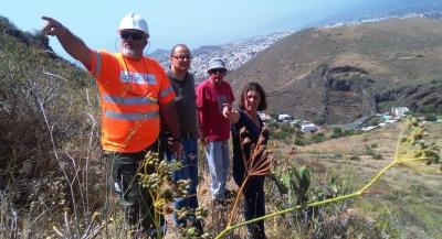 Operarios de Gesplan acometiendo labores de recuperación del Sendero Las Mesas